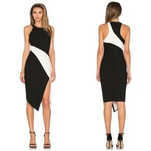 Shalyn dress asymmetric black and white